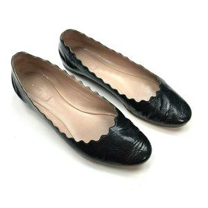 CHLOE Lauren Scalloped Ballet Flat Black Patent